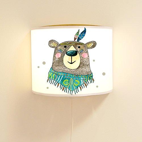 ilka parey wandtattoo-welt Leseschlummerlampe Leselampe Schlummerlampe Wandlampe Kinderlampe Indianer Bär Boho mit Punkten Ls36