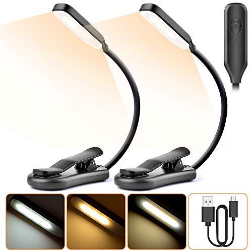Luz de Lectura Recargable 2 Pack, Tesecu Lampara Libro 7 LED con 3 Modos 360 ° Flexible Lampara de Lectura Pinza para Lectores Noche, E-Reader, Estudio, Cama, Tablet