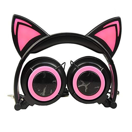EUCoo - Auriculares plegables con forma de gato con LED para PC, MP3, auriculares de juego