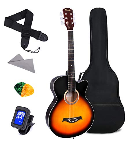 Acoustic Guitar for Beginner 38 Inch Kid Guitar Steel Strings Guitar Starter Bundle Cutaway with Gig Bag Clip Tuner Strap 2 Picks and Wipe for Student Child Adult Learn to Play