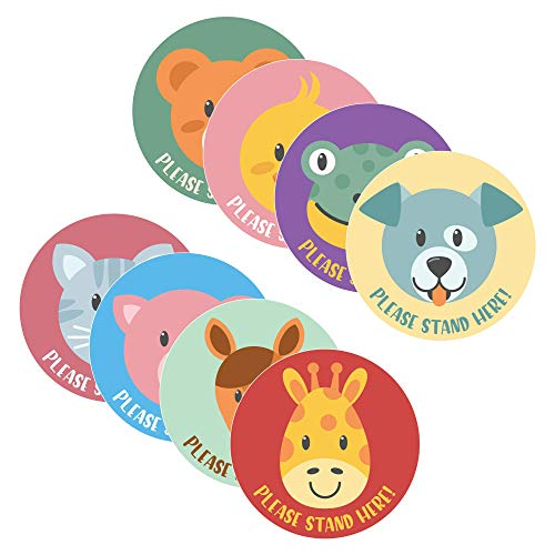 Please Stand HERE - Children's Animal Theme Social Distancing Floor Decal - Vinyl w/UL Approved Anti-Slip Finish - 12' Circle (Variety Pack - Set of 8)