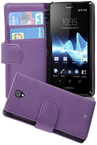 Cadorabo Custodia Libro per Sony Xperia T in Lila Orchidea - con Vani di Carte e Funzione Stand di Similpelle Fine - Portafoglio Cover Case Wallet Book Etui Protezione