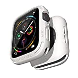 elkson Compatible with Apple Watch Series 6 SE 5 4 Bumper case 44mm iwatch Quattro Series Cases Fall Protection Durable Military Grade Protective TPU Flexible Shock Proof Resist Men 44 mm White