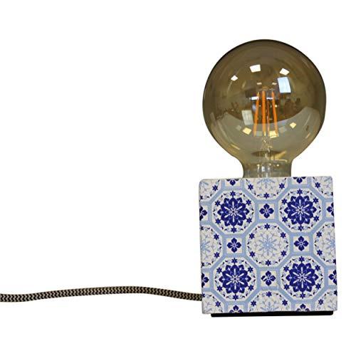 Tafellamp mozaïek blauw patroon beton tafellamp nachttafellamp