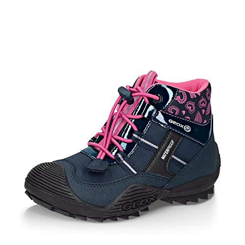 Geox Mädchen Winterstiefel ATREUS Girl WPF, Kinder Stiefel,Winter-Boots,Outdoor-Kinderschuhe,warm,wasserdicht,Navy/Fuchsia,31 EU / 12.5 UK Child