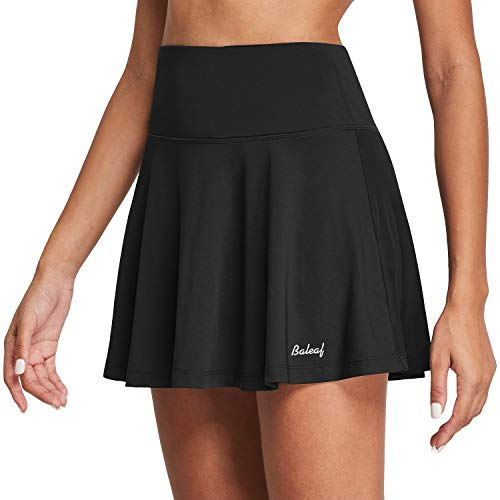 BALEAF Women's High Waisted Tennis Skirt Golf Active Sport Running Skorts Skirts Ball Pockets Black L