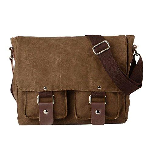 Laptop Bag 14 inch Mens Canvas Leather Messenger Bags Briefcase Crossbody Satchel Shoulder School Bag Travel Hiking Camping Bag ipad Bag Book Bag Satchel School Bag, 32 x 10 x 27cm, Coffe-1