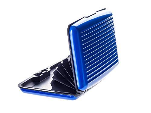 VALLET® Kreditkartenetui aus Aluminium - für Damen und Herren - blockiert RFID und NFC – für Kreditkarten Personalausweis EC-Karten - Kartenetui Kartenhülle Karten Portemonnaie Etuis – blau