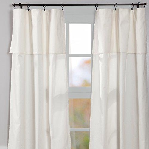 "Silo Hill 84"" Panel w/ Attached Valance, Set/2, Farmhouse Drop Cloth Style Curtains, Antique White"