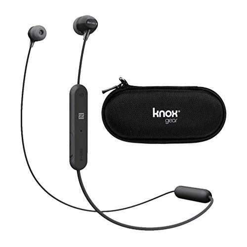 Sony WI-C310 Wireless in-Ear Headphones, Black (WIC310/B) with Hard Shell Earphone case bundlewith Hard Shell Earphone case Bundle
