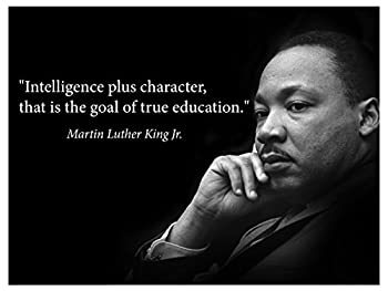 Martin Luther King Jr Poster famous inspirational quote banner for classrooms education wall art photograph picture black history month famous African american hero activism teacher  Laminated