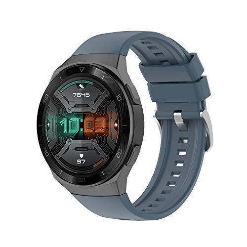 KAAGGF 22mm Sport Silicone Wamkand Correa para Huawei Watch GT 2E Smart Watch Band Reemplazo GT2E Pulsera Pulsera Banda (Color : Rock Cyan, Size : For Huawei GT 2e)