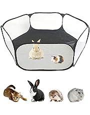ペットサークル 小動物フェンス 室外/室内 プレイサークル ウサギ ハムスター ハリネズミのテント 六角形 網目あるのケージ 折りたたみ