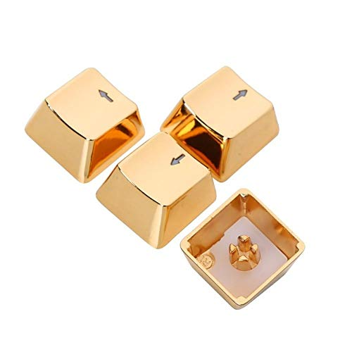 YEZIO Keycaps für Keyboards Tastatur MX Achse Metall Keycaps for Licht durchlässig Keypress WASD-Zink-Legierung Schlüsselkappe Lichtdurchlässigkeit Universal (Color : Golden Arrow)
