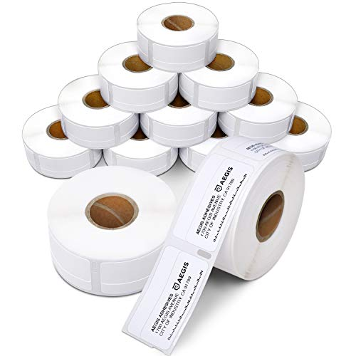 """Aegis - Compatible Direct Thermal Labels Replacement for DYMO 30330 (3/4"""" X 2"""") Return Address, File Folder - Use with Labelwriter 450, 450 Turbo, 4XL Printers (12 Rolls)"""