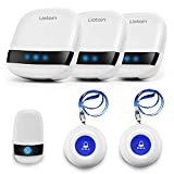 LIOTOIN Wireless Caregiver Pager Call Button Nurse Alert System Call Bell for Home/Elderly/Patients/Disabled 3 Transmitters 3 Plugin Receivers (600+ft Operating Range)