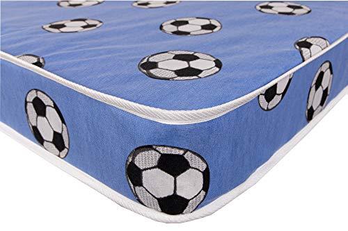 La máxima comodidad presupuesto Plus primavera colchón con relleno extra * 6,5cm de profundidad ideal Kids economía colchón, cama colchón, Blue Football, 0,79 m individual pequeña