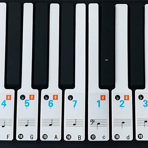 Klavier Aufkleber, Keyboard Noten Aufkleber, klavier Aufkleber Kinder, für 37/49/54/61/88 Tasten Kinder Erwachsene Anfänger, Transparent und Entfernbar(Arabische Ziffern)