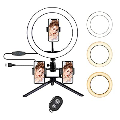 "FilmHoo 10"" Selfie Ring Light with Tripod S..."