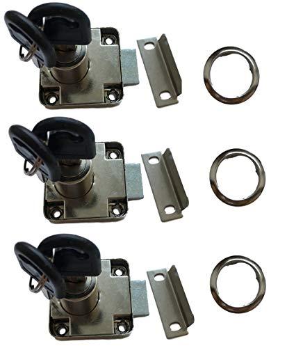 3er Set Aufsatzschloss mit Winkel und 6x Schlüssel + Abdeckung – auch als Einbauschloss/Nachträgliches Schloss für Möbel Schränke