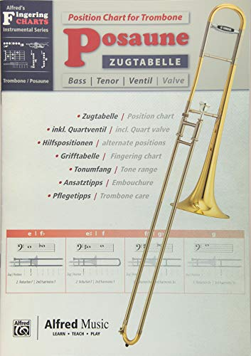 Alfred\'s Fingering Charts Instrumental Series: Zugtabelle Posaune | Position Chart Trombone | Posaune | Buch: German / English Language Edition, Chart