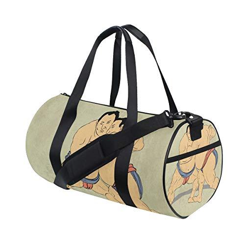 ZOMOY Sporttasche,Illustration Zwei japanische Sumo Wrestler Wrestling,Neue Druckzylinder Sporttasche Fitness Taschen Reisetasche Gepäck Leinwand Handtasche