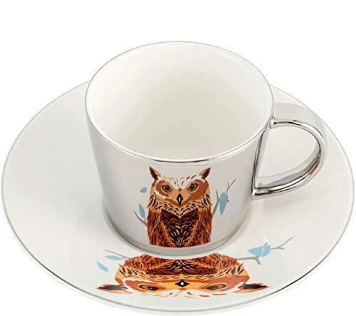 FBSHOP(TM) - Juego de taza y platillo con imagen invertida, taza de té de porcelana para capuchino, leches, té, café, bonitos regalos, oficina, hogar, tarde y taza de café, cerámica, Búho plateado, capacity:90ml