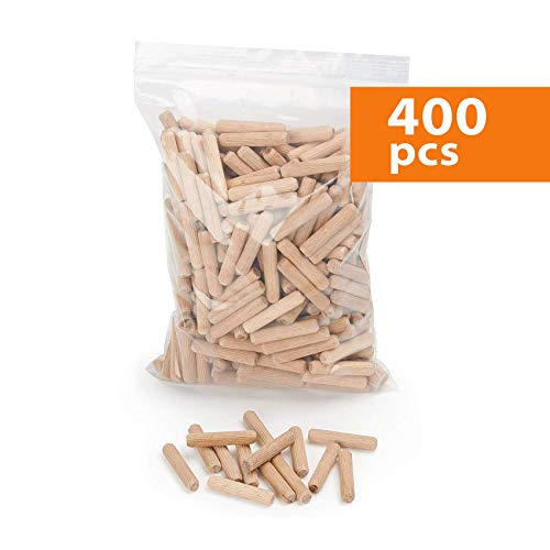 Holzdübel 8 mm x 50 mm | Riffelholzdübel 400er Packung | Dübel aus Buche | Holz Dübel 8 mm | Ideal geeignet für Dübelfräse & Lamellofräse