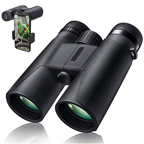10X42 Professional Binoculars with Smartphone Adapter, Compact Waterproof Low Night Vision Binoculars for Adult Birds Watching Hunting Concert Travel