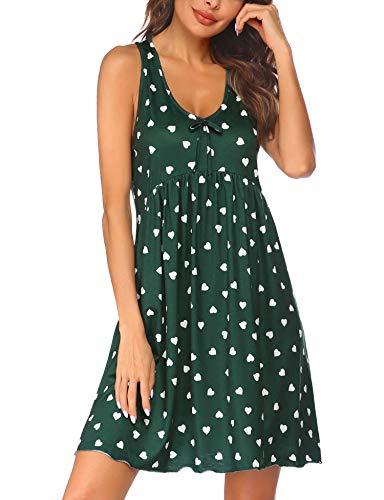 Ekouaer Nachthemden Damen Ärmellos Nachthemd Sommer Nachtwäsche Kurz Nachtkleid mit Herzchenprint Schlafshirt Knopfleiste Sleepshirt,Grün,XL
