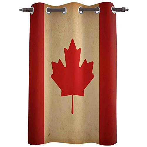 """Blackout Curtain Panels, Canada National Day Vintage Flag Maple Leaves Thermal Insulated Solid Grommet Top Window Drapes for Living Room Bedroom,Single Panel, 52""""x45"""""""