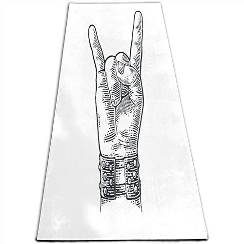 CONICIXI Esterilla Yoga Pulsera con pinchos de metal con signo de mano de rock and roll que da el gesto de los cuernos del diablo Colchonetas de ejercicio Pilates para entrenamiento en casa Gimnasio