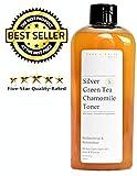 Colloidal Silver Toner with Green Tea & Chamomile 84% Organic - 6.6oz Alcohol & Oil Free - All Skin Types Including Acne & Rosacea - Vegan pH Balanced
