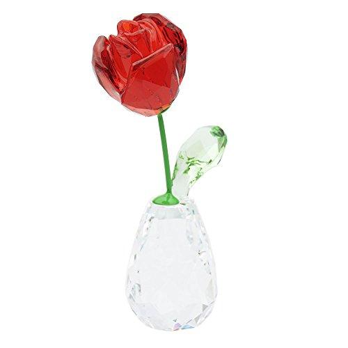 Swarovski Blumenträume - Rote Rose Figur, Kristall, Mehrfarbig, 7.1 x 2.1 x 3.4 cm