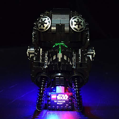 GILE Juego de iluminación LED para casco Lego Star Wars TIE Fighter Pilot Casco, juego de iluminación compatible con Lego 75274 (sin set Lego)