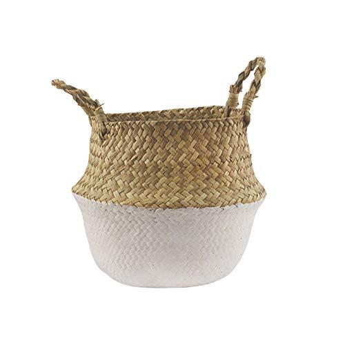 QPY Cesta tejida de junco marino, cesta de almacenamiento hecha a mano, cesta para la colada, decoración del hogar, maceta colgante para jardín