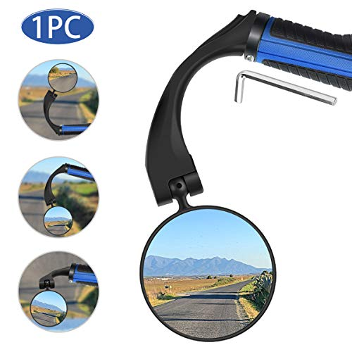 Bike Mirror, 1 Pcs 360° Adjustable Rotatable Wide Angle Rear View Mirror for Handlebar End, Rotatable Mirror Universal with Wide Angle Rear View Mirror Glasses for Mountain Road Bike