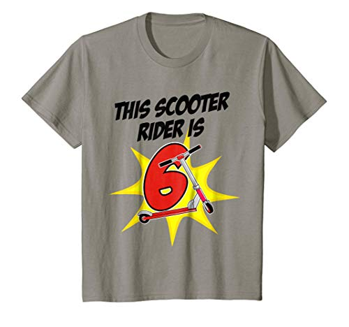 Kids 6th Birthday Boys Scooter T-Shirt Scooter Rider 6 Year Old