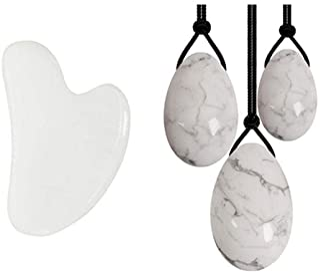 Rullo di giada bianca Yoni uova GuaSha Board Gouache raschietto Set cristallo naturale pietra viso rullo massaggiatore Keg...