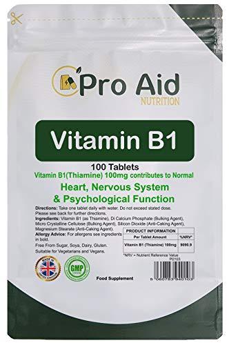 Vitamin B1 Thiamine 100mg Tablets 100 Pack by ProAid