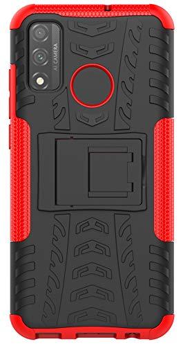 XINFENGDI Huawei P Smart 2020 Cover,Custodia Protettiva in Morbido TPU + PC Anticaduta Antiscivolo AntiGraffio Antiurto con Supporto Modello di Pneumatico per Huawei P Smart 2020 - Rosso