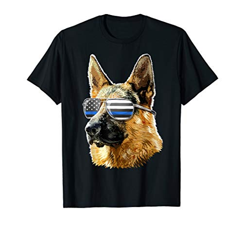 Thin Blue Line Flag K9 Shirt German Shepherd Police Dog Gift T-Shirt