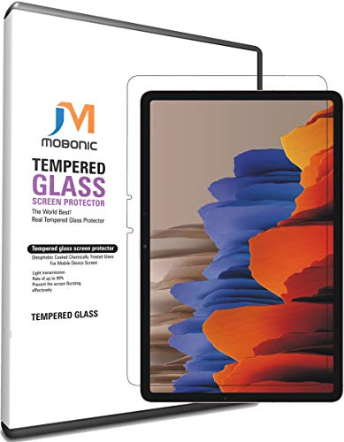 mobonic® galaxy tab s7 2020 (sm-t870/sm-t875), 9h tempered glass [anti scratch], [bubble-free], [gorilla glass], [hd clear] fit samsung galaxy tab s7 11 inch 2020 tablet (transparent)