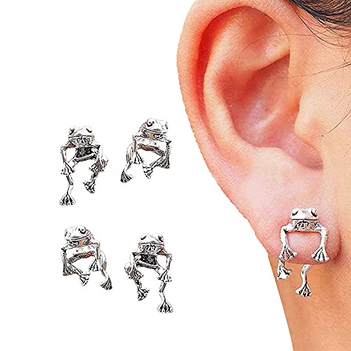 HUANYINGNI Two Way Frog Earrings, Frog Lover Jewelry, Earrings for Women Girl, Great Gifts Idea for Frog Lovers, Retro Stud Detachable Earrings 2pcs