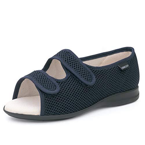 Zapatillas Unisex Marca CALZAMEDI, en Tejido Confortable Azul Marino,Doble Cierre Velcro,Horma 16.Mod.3058 (Azul, Numeric_37) 🔥