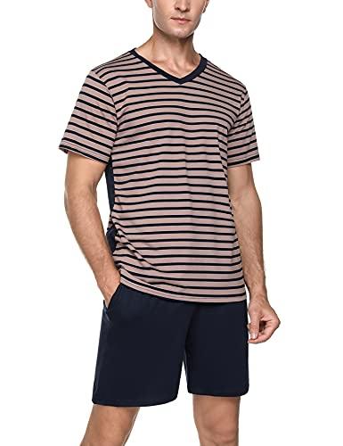 Akalnny Herren Schlafanzug Kurz Pyjama Set Baumwolle Shorty Sommer Nachtwäsche für Männer Braun L