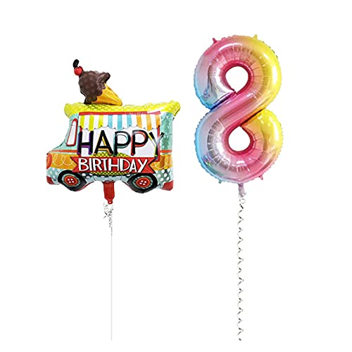 Ballonnen 2 stks Tractor Folie Ballonnen 40 Inch Nummer Ballon Boerderij Bulldozer Ijs Auto Verjaardag Feestdecoratie Kids Speelgoed Douche (Farbe: Ijs auto 8)