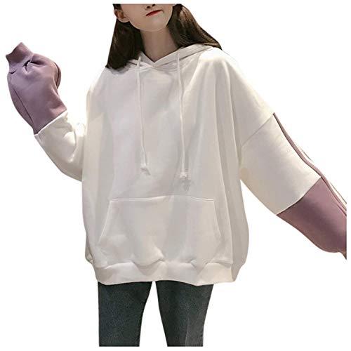 Jersey Suéter Sweater Fleece Raya Sólida Letra Harajuku Estampado Pulóver Grueso Suelto Mujeres Sudaderas con Capucha Sudadera Mujer Abrigo Informal L Blanco