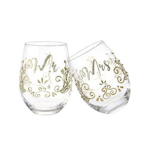 NymphFable Set di 2 Bicchieri Vino Senza Stelo Colorati Corona Dipinta a Mano Regalo di Compleanno Nozze 520 ml