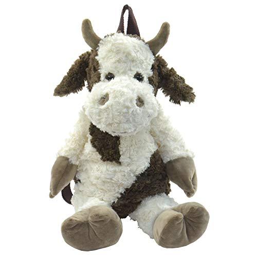 Kögler 85408 Pluche rugzak, voor kinderen, koeien, pluizig zacht, met draaggreep en in lengte verstelbare draagriem, ca. 50 cm groot, voor jongens en meisjes, wit/bruin